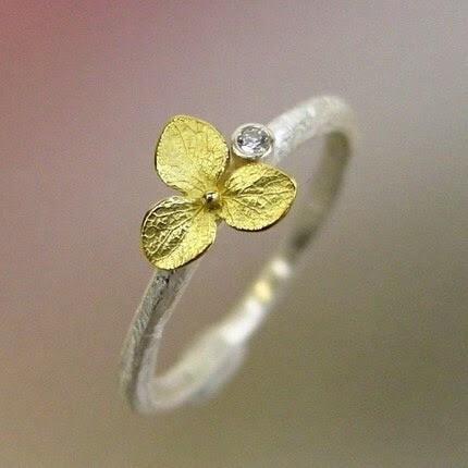 Hydrangea Blossom, Diamond Stacking Ring, Sterling Silver, 18k Gold Flower