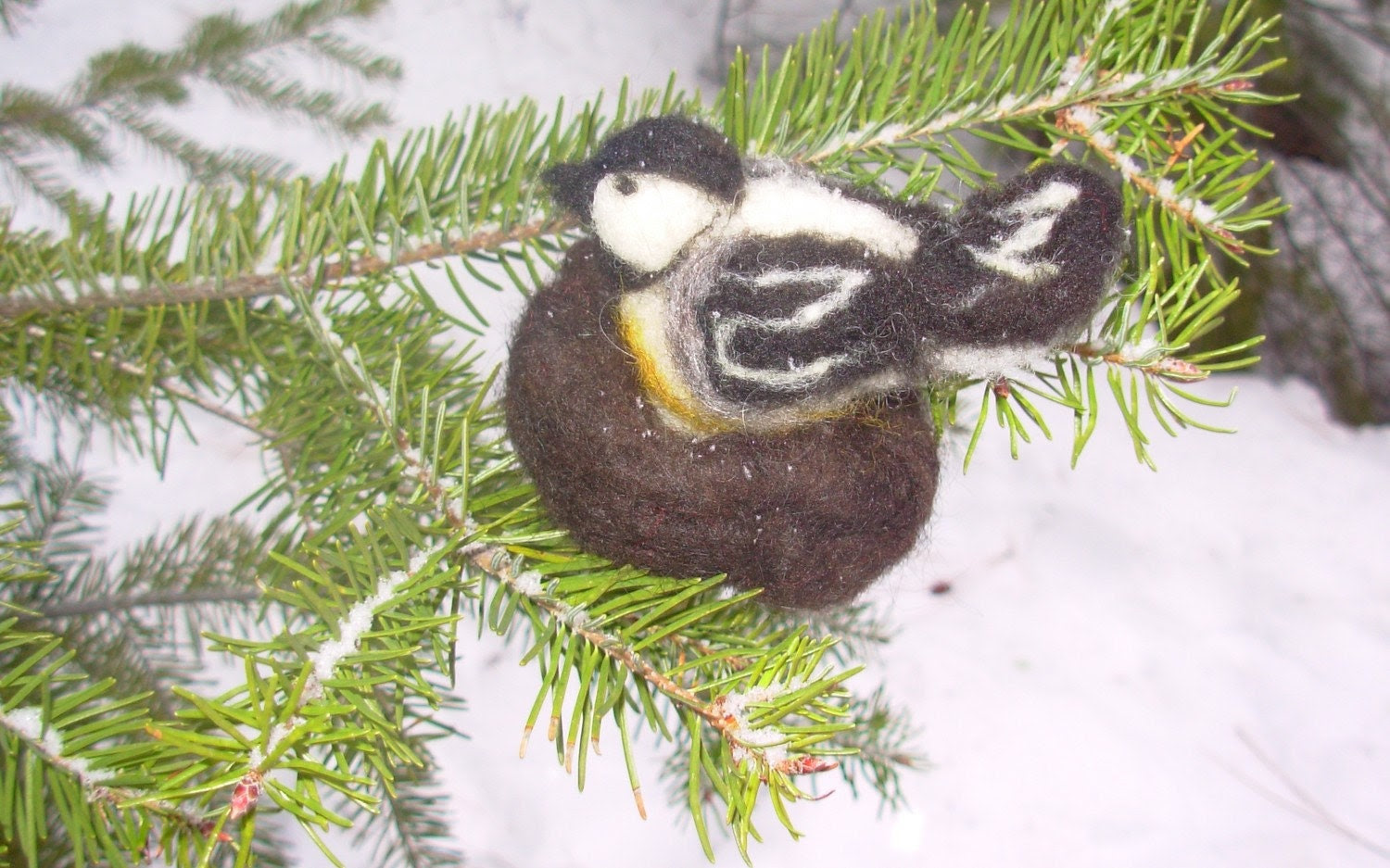 Felted Wool Chickadee On Nest Of Eggs