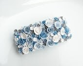 Twinkling pale blue and white rose barrette hair clip handmade from polymer clay - fizzyclaret