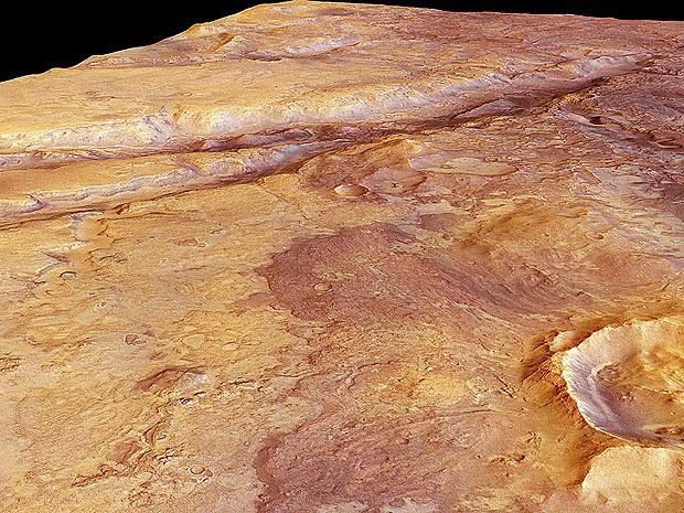 Algumas dessas incisões do solo marciano têm 500 metros de profundidade (Foto: ESA/DLR/FU Berlin)