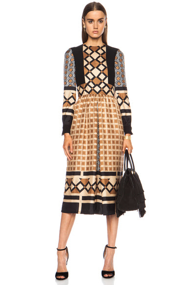 Valentino|Optical Print Silk Jumpsuit in Camel [1]