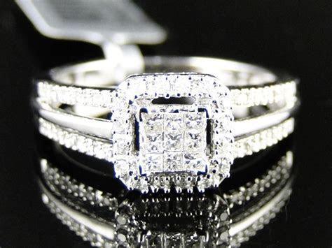 Womens Ladies White Gold Princess Cut Real Diamond