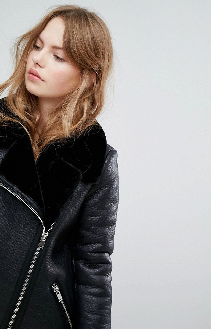 Budget Friendly Under 100 Acne Studios inspired Black Shearling Aviator Jacket Fall Winter Trend Le Fashion Blog