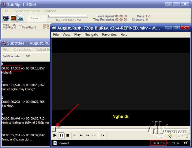Pzw57 Hướng dẫn sync phụ đề phim bằng SubRip