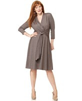 London Times Plus Size Dress, Three Quarter Sleeve V-Neck Belted Jersey