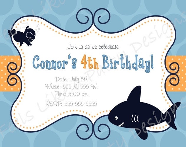 Custom Shark Birthday Invitation - FeelsLikeAParty