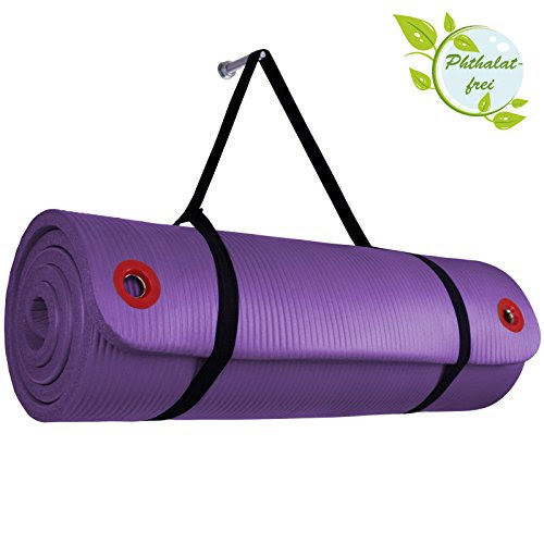 Yoga -Mat PROFESSIONAL in different Sizes and Colours Yogamat with Suspension Eyelets for Pilates Gymnastics Exercise Workout extra thick non-slip, Colour:Vivid Violet;Size:180 x 60 x 1.5 cm