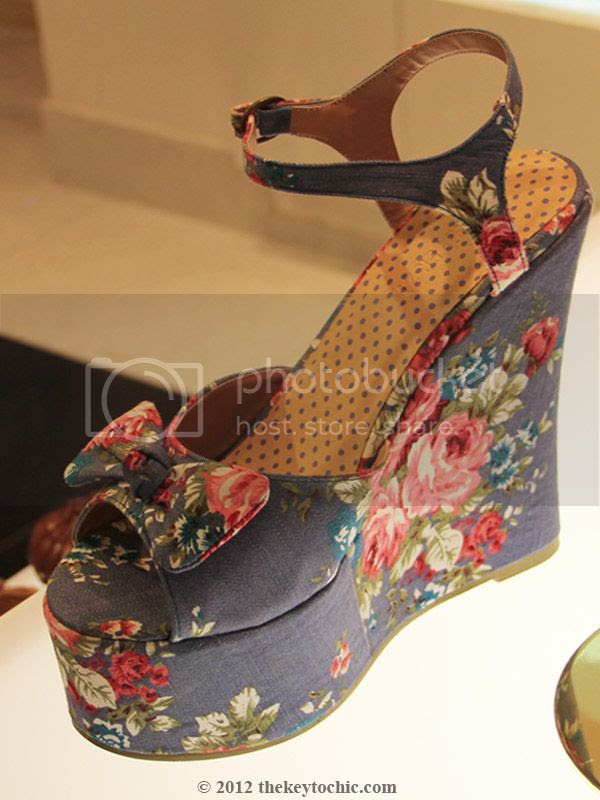 Forever 21 blue floral wedges