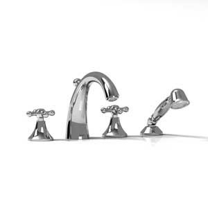 Riobel Tub Shower Fi12 4 Piece Deck Mount Faucet With Hand Shower
