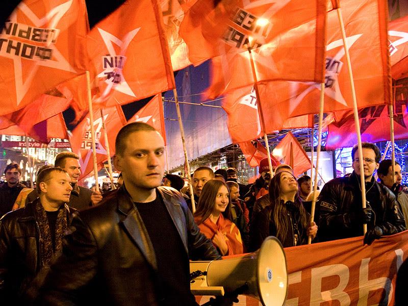 Сергей Удальцов на демонстрации в честь 91-й годовщины Октябрьской социалистической революции
