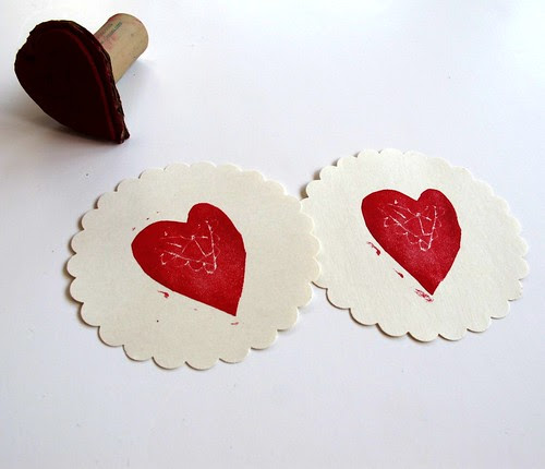 heart prints diy stamps for children
