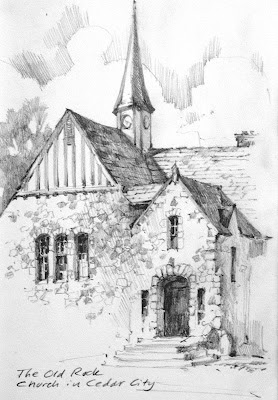 Roland Lee sketch book drawing of the Old Rock Church in Cedar City, Utah