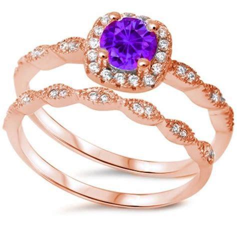 Rose Gold Vintage Wedding Engagement Ring Round Purple