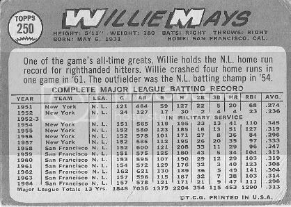 #250 Willie Mays (back)