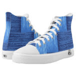 Blue Jean Painted Abstract Squares Printed Shoes