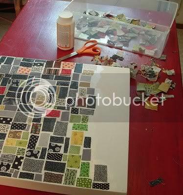 scrap fabric canvas art