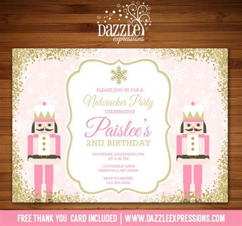 Printable Pink and Gold Glitter Nutcracker Birthday