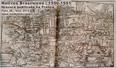 Índios em gravura francesa de 1550