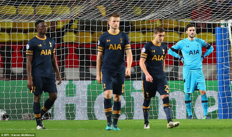 Victor Wanyama, Eric Dier, Harry Winks and Hugo Lloris look dejected after Spurs fell behind straight after half-time