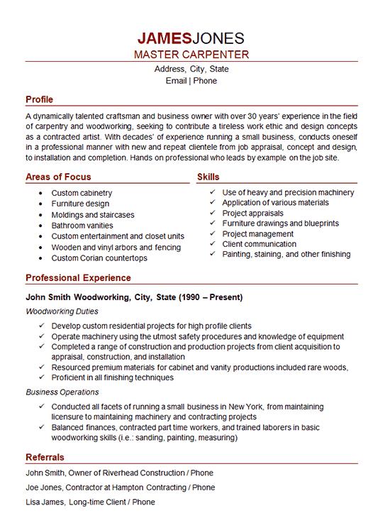 resume36 carpenter