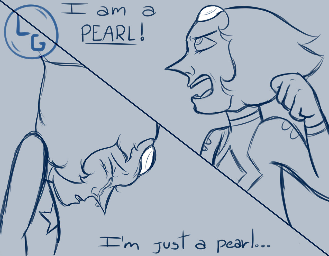I never saw that character development of Pearl in a drawing and I find it awesome, so I did it myself just a sketch for now
