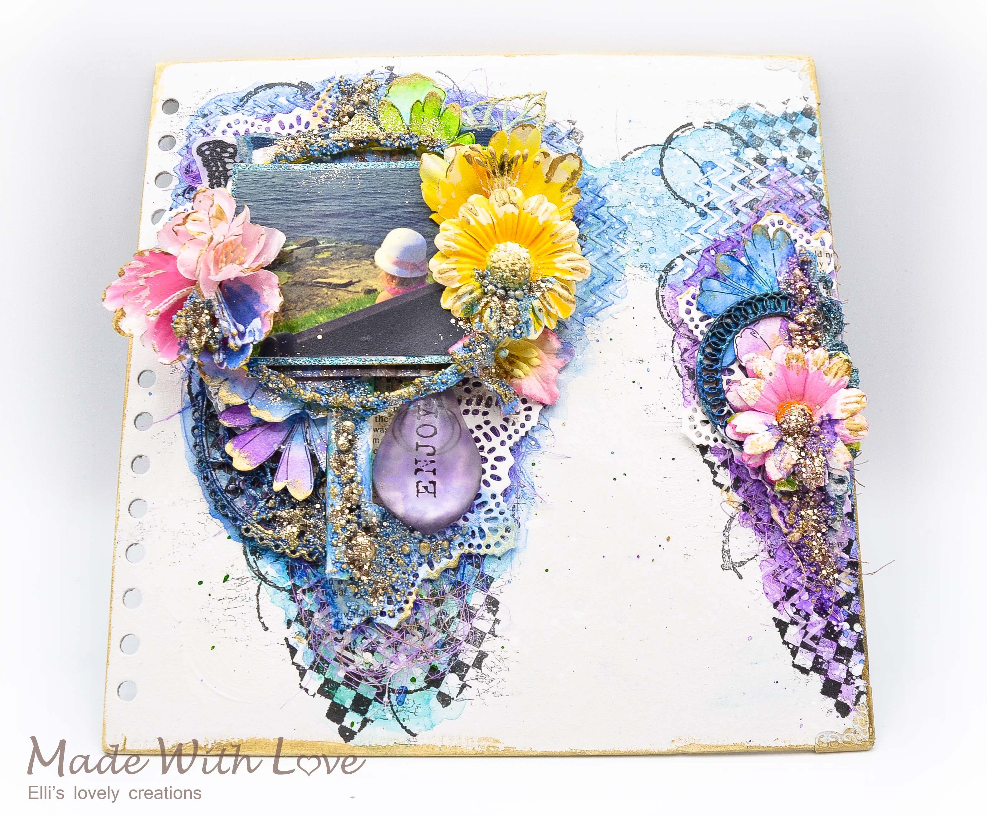 Mixed Media Summer Garden Wedding Album Cover Enjoy 004