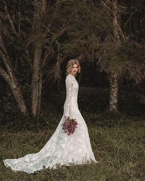 Elegant Lace Bohemian Long Sleeve Wedding Dress A Line