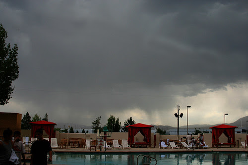 storm's a brewin- everyone out of the pool