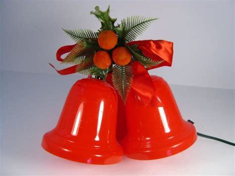 Retro Red Plastic Lighted Christmas Bells   Three