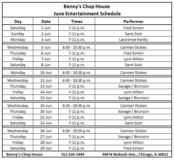 Benny's Chop House June 2013 Scedule