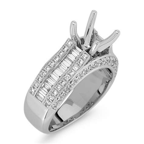 Baguette and Round Diamond Platinum Engagement Ring with