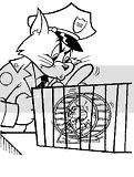 Cat dressed in police uniform in these Tom and Jerry Coloring pages and sheets, looking into the mouse's cage.