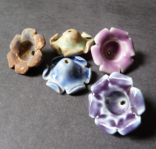 Porcelain blossom bead caps