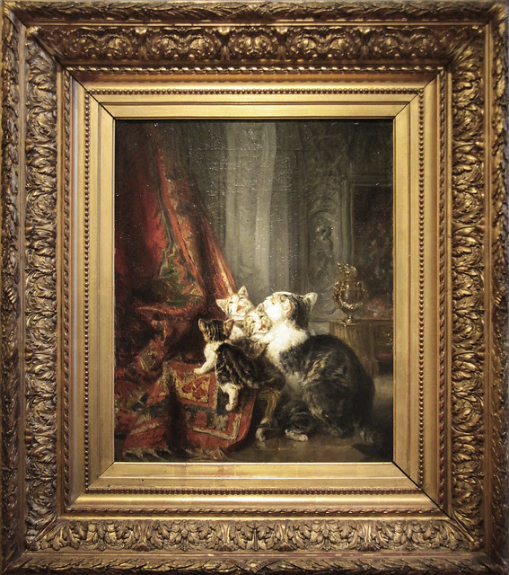 Interior with cats - Louise-Eugeen Lambert(1825-1900), third quarter 19th century