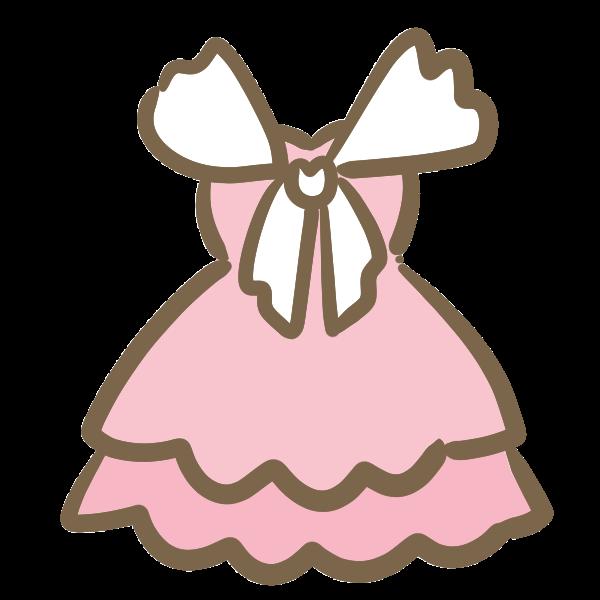 パーティドレスピンクのイラスト かわいいフリー素材が無料の