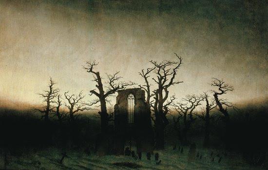 """Caspar David Friederich """"The Abbey in the Oakwood (oil), 1810"""