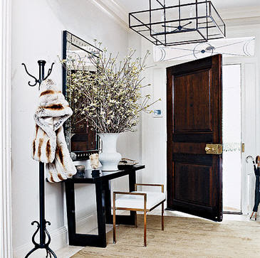 Iron and Glass Lantern - Transitional - entrance/foyer - Thom Filicia