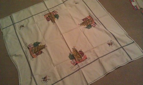 Cross stitched tablecloth