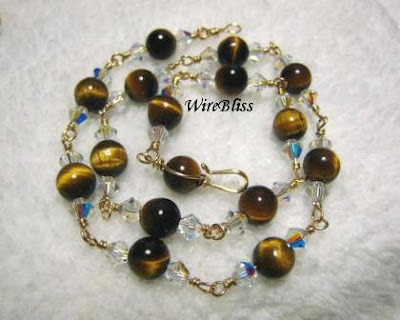 Wire wrapped tiger's eyes anklet with gold filled wire and swarovski crystal