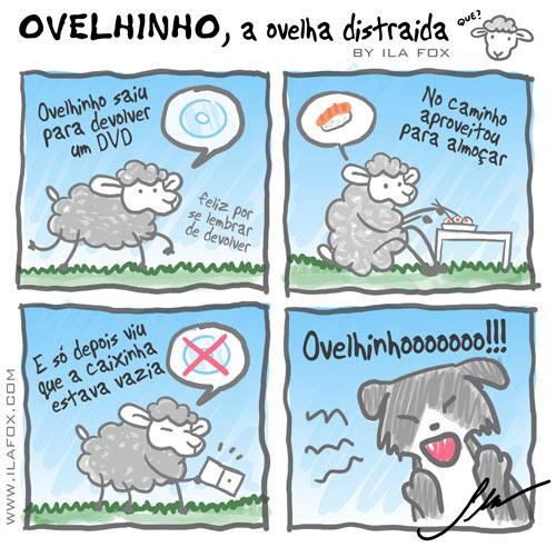 carneiro ovelha ovelhinho a ovelha distraída foi devolver o DVD, quadrinhos by Ila Fox