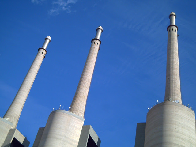 Three Chimneys in Sant Adria del Besos, Barcelona