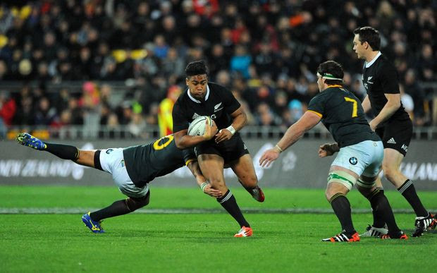 All Black Julian Savea moves forward against South Africa in Westpac Stadium.