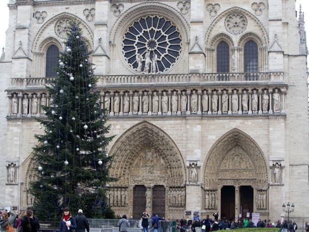 A árvore de Natal da catedral de Notre Dame, em Paris  (Foto: AP Photo/Jacques Brinon)