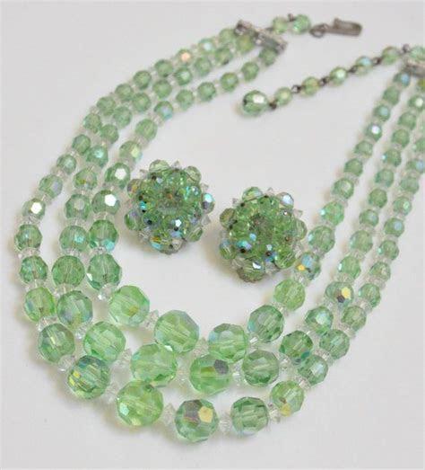 Vintage Laguna Green Crystal Necklace Set, Multistrand