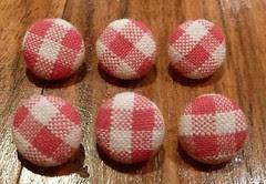 Handmade pink gingham buttons