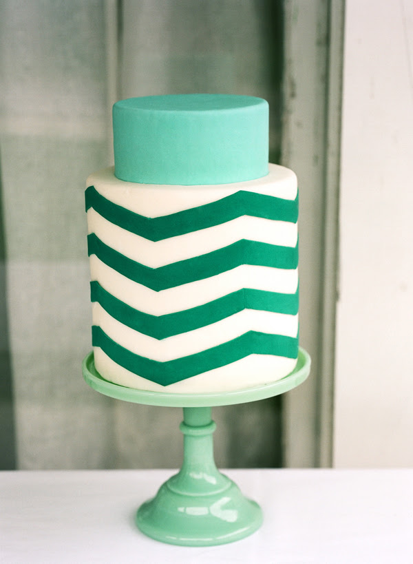 Zigzagcaketealweddingcake Teal and white chevron cake from Once Wed by