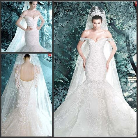 Luxurious Michael Cinco Mermaid Wedding Dress Off Shoulder