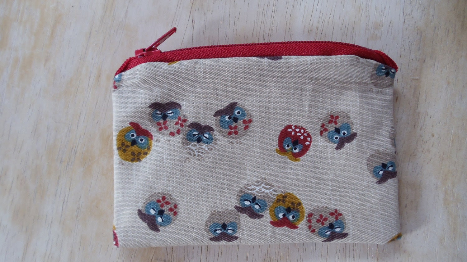 Lined Cotton Zipper Coin Purse - Owls