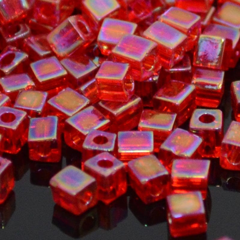 sb3-0254 Miyuki - 3 mm Japanese Cubes - Transparent Red AB