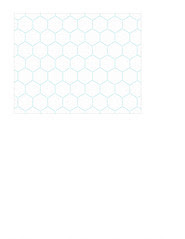 4a Turquoise Stitched Hexagons LARGE SCALE - A2 card size LANDSCAPE or HORIZONTAL